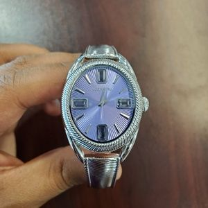 Judith Ripka Oval Case Silver-Tone Womens Watch
